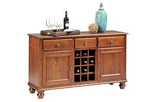 Wentworth Wine Buffet|Rustic Cherry in Seely OCS104|58in W x 34in D x 18in H|The Amish Home|Amish Furniture at the Pittsburgh Mills