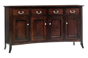 English Shaker 4 Door Buffet|Brown Maple in Rich Tobacco OCS228|65 1/2in W x 20in D x 36 3/4in H|The Amish Home|Amish Furniture at the Pittsburgh Mills
