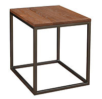 Bedford End Table with metal base | Metal Base & Oak in Michaels OCS113 | 22in W x 26in D x 25in H | The Amish Home | Amish Furniture at the Pittsburgh Mills
