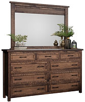 Denali Tall Dresser with Optional Mirror | Six wide inset drawers, three narrow inset drawers, with flat panel fronts. 48in high with optional mirror. | Brown Maple (Circular Sawn) in Almond FC-4200 | 66in W x 19in D x 42in H | The Amish Home | Amish Furniture at the Pittsburgh Mills