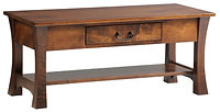 Woodbury Coffee Table | With drawer and shelf | Brown Maple in Asbury OCS117 | 42in W x 22in D x 18in H | The Amish Home | Amish Furniture at the Pittsburgh Mills
