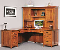 Coventry Mission L-Desk shown with optional hutch top | Quartersawn White Oak in Michaels OCS113 | 75in W x 71 3/4in D x 31 1/4in H | The Amish Home | Amish Furniture at the Pittsburgh Mills