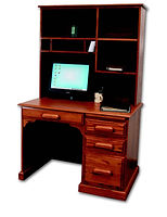Country Home Computer Desk with Hutch | Oak in Medium OCS110 | 43in W x 27in D x 67in H | The Amish Home | Amish Furniture at the Pittsburgh Mills
