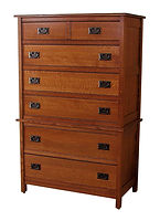 Country Mission Chest on Chest|Quartersawn White Oak in Michaels OCS113|37 3/4in W x 19 7/8in D x 60in H|The Amish Home|Amish Furniture at the Pittsburgh Mills