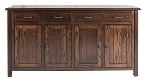 Adele 4 Door Buffet with plank top|Oak in Asbury OCS117|76 3/4in W x 20in D x 42in H|The Amish Home|Amish Furniture at the Pittsburgh Mills