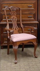 Regal Queen Anne Arm Chair with fabric seat Floor Model Special Cherry with Washington stain
