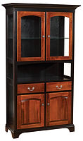 Millcreek Dining Cabinet with open shelf   Brown Maple in Two-toned   39 1/4in W x 16 1/2in D x 79 1/2in H   The Amish Home   Amish Furniture at the Pittsburgh Mills