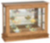 Small Console Curio with Sliding Door|Oak in Medium OCS110|38in W x 13 1/4in D x 30in H|The Amish Home|Hardwood Furniture at the Pittsburgh Mills