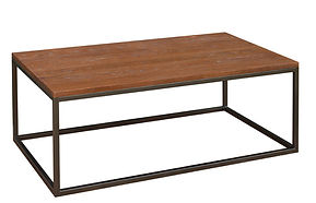 Bedford Industrial Style Coffee Table with metal base|Metal Base & Oak in Michaels OCS113|54in W x 30in D x 19in H|The Amish Home|Amish Furniture at the Pittsburgh Mills