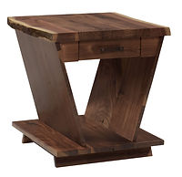 Junction End Table | 1 1/2in Live Edge Top. Sides of table angle up and out to make a V shape. One drawer and open shelf. | Rustic Walnut in Natural OCS100 | 24in W x 24in D x 24in H | The Amish Home | Amish Furniture at the Pittsburgh Mills