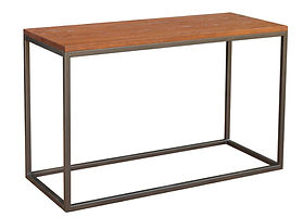 Bedford Industrial Style Sofa Table with metal base|Metal Base & Oak in Michaels OCS113|48in W x 20in D x 29in H|The Amish Home|Amish Furniture at the Pittsburgh Mills