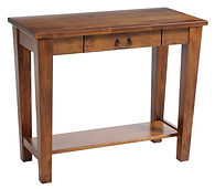 Urban Shaker Sofa Table with drawer | Shaker style with tapered tegs and square edges, bottom shelf, black hardware. | Brown Maple in Michaels OCS113 | 36in W x 18in D x 30in H | The Amish Home | Amish Furniture at the Pittsburgh Mills