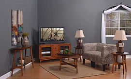 Lodi Living Room Furniture Collection TV Stand, Ocal Coffee Table, Round End Tables, Sofa Table Solid Brown Maple in Michaels OCS113 The Amish Home Amish Furniture at the Pittsburgh Mills