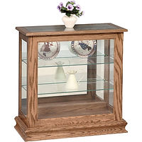 Picture Frame Console Curio with Sliding Door | Glass top, 2 adjustable shelves with plate groove, mirror back, clear glass, no light, door slides left | Oak in Provincial OCS112 | 30 1/2in W x 13 1/4in D x 30in H | The Amish Home | Amish Furniture at the Pittsburgh Mills