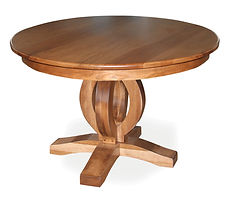 Freeman's Master Single Pedestal Table | Shown with round top, roundover edge. Available with butterfly leaf. | Rustic Cherry in Natural OCS100 | Many Sizes Available | The Amish Home | Amish Furniture at the Pittsburgh Mills