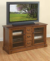 Bridgeport TV Stand|Brown Maple in Boston OCS111|56in W x 20in D x 30in H|The Amish Home|Hardwood Furniture at the Pittsburgh Mills