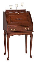 Secretary Desk with Queen Anne Legs|Cherry in Washington OCS107|31in W x 16in D x 43 1/2in H|The Amish Home|Amish Furniture at the Pittsburgh Mills