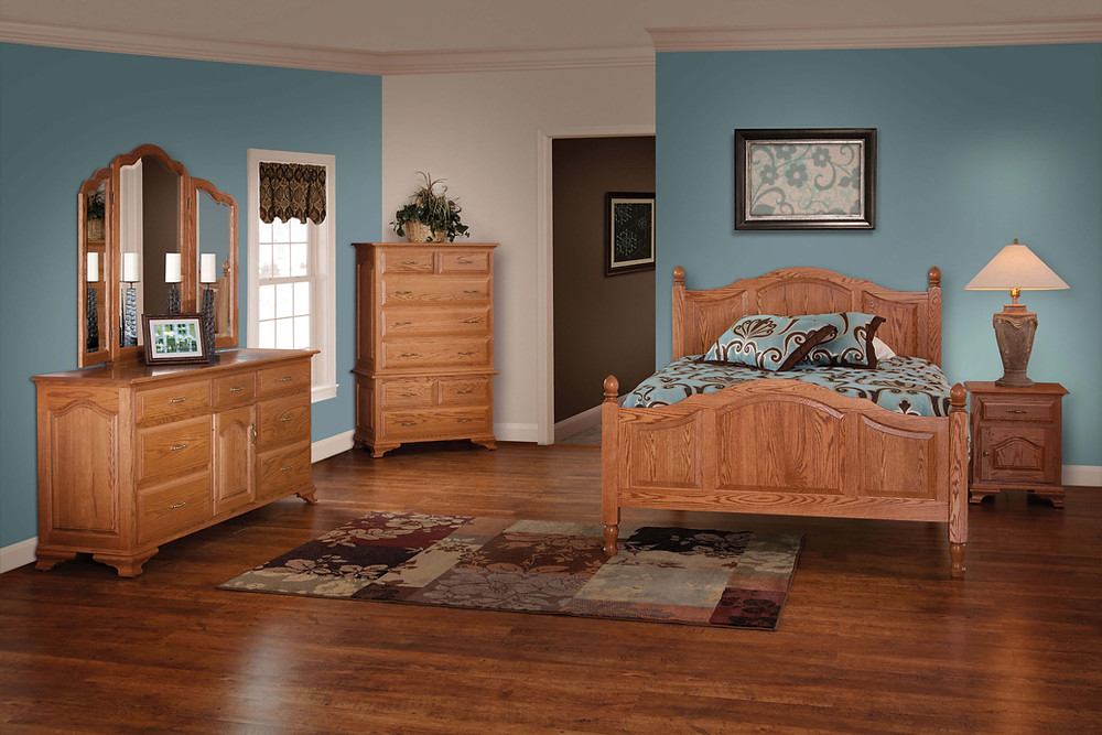 Crown Villa Bedroom Furniture Collection|Crown Villa Panel Bed, 72in Dresser with Tri-View Mirror, 1 Drawer 1 Door Nightstand, Chest on Chest|Solid Oak in Seely OCS104|The Amish Home|Amish Furniture at the Pittsburgh Mills