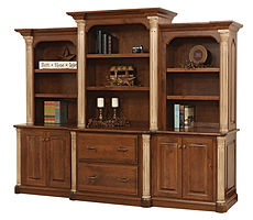 Jefferson 3-piece Credenza with optional hutch | Available with contrasting columns in stone finish | Cherry in Chocolate Spice FC-9090 | 100 1/4in W x 24in D x 79 1/2in H | The Amish Home | Amish Furniture at the Pittsburgh Mills