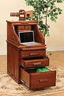 David's Traditional Student Roll Top Desk shown open | Oak in Michaels OCS113 | 24in W x 30in D x 47 1/2in H | The Amish Home | Amish Furniture at the Pittsburgh Mills