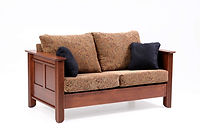 Arlington Loveseat | Transitional style with beaded corner trim. Reversible back & seat cushions, criosscross webbing on back & seat, fiber pad with bonded foam. Full back wood panel display. Fabric or leather, includes throw pillow. | Cherry in Acres OCS106 | 64 1/2in W x 36 1/2in D x 34in H | The Amish Home | Amish Furniture at the Pittsburgh Mills