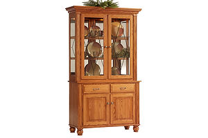 Hampton 2 Door Hutch|Oak in S-2 OCS101|48in W x 20in D x 811/2in H|The Amish Home|Amish Furniture at the Pittsburgh Mills Amish Dining Solutions