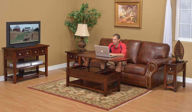 The open garnet hill living room furniture collection is shown in solid brown maple with rich cherry stain, coffee table with lift-top, end table with drawer, mini end table with drawer, tv stand with two drawers and two shelves. all drawers are inset with detailed moldings, nickel knobs. Solid hardwood furniture made in the usa amish furniture pittsburgh mills