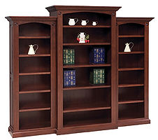 Deluxe 3-Piece Bookcase|Cherry in Boston OCS111|89 1/2in W x 18 1/2in D x 72in H|The Amish Home|Amish Furniture at the Pittsburgh Mills