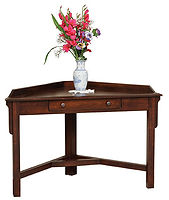 Ray's Corner Laptop Desk | Brown Maple in Rich Tobacco OCS228 | 48in W x 24in D x 30in H, 30in wall space | The Amish Home | Amish Furniture at the Pittsburgh Mills