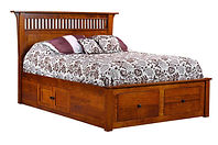 Empire Mission Bed with underbed storage|Quartersawn White Oak in Michaels OCS113|Headboard 52 1/2in H, footboard in H|The Amish Home|Amish Furniture at the Pittsburgh Mills