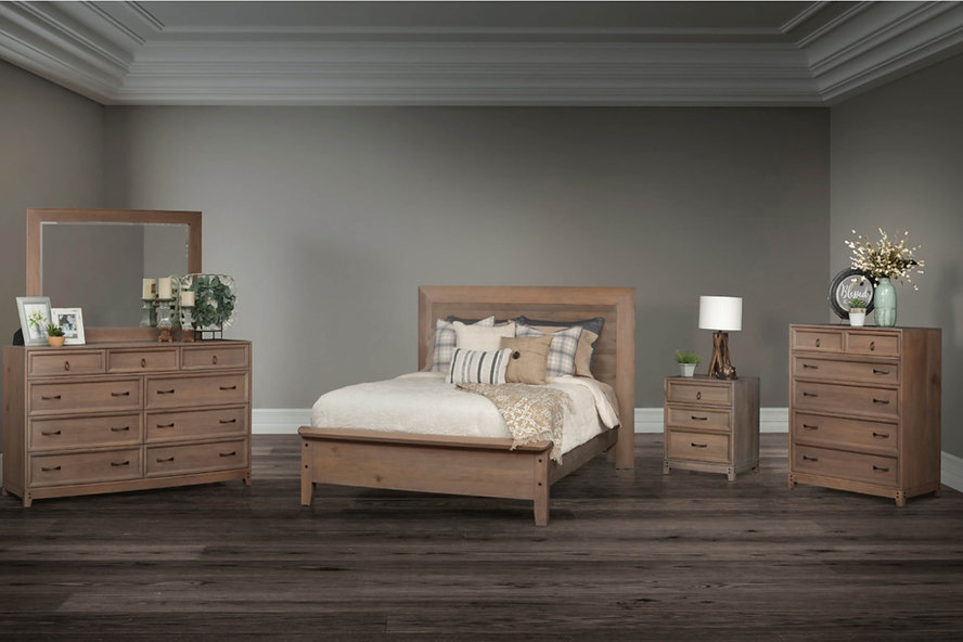 Glendale Bedroom Furniture Collection|Warm and sophisticated bedroom suite with flush tops and sides with recessed treatments on the drawers. Panel bed with mitered headboard frame and simple footboard, dresser with nine drawer and optional mirror, nightstand with three drawers, bureau with six drawers. |Solid Rustic Quartersawn White Oak in Barnwood SP-10|The Amish Home|Amish Furniture at the Pittsburgh Mills