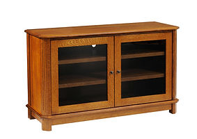Franchi TV Stand with 2 Glass Doors | Inset doors with flat glass, fluted beveled leg styling | Rustic Quartersawn White Oak in Michaels OCS113 | 50in W x 18in D x 30in H | The Amish Home | Amish Furniture at the Pittsburgh Mills