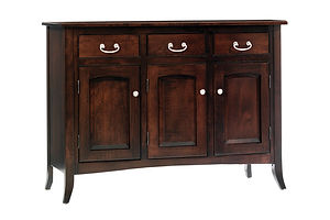 English Shaker 3 Door Buffet|Brown Maple in Rich Tobacco OCS228|50 3/4in W x 20in D x 36 3/4in H|The Amish Home|Amish Furniture at the Pittsburgh Mills