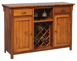 Keiran Buffet with wine rack|Quartersawn White Oak in Michaels OCS113|60in W x 19 1/2in D x 42in H|The Amish Home|Amish Furniture at the Pittsburgh Mills