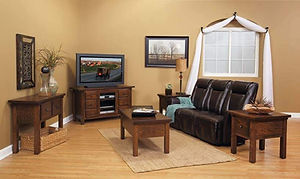 Butler Living Room Furniture Collection|TV Stand, Coffee Table, End Tables, Sofa Table|Solid Oak in Asbury OCS117|The Amish Home|Amish Furniture at the Pittsburgh Mills