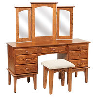Shaker Dressing Table | Oak in Michaels OCS113 | 56in W x 17 1/2in D x 30 1/2in H | The Amish Home | Amish Furniture at the Pittsburgh Mills
