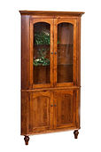 Spring Valley Corner Hutch   Brown Maple in Michaels OCS113   31in W x 26in D x 80 3/4in H, 26in wall space   The Amish Home   Amish Furniture at the Pittsburgh Mills