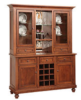 Wilmington Hutch with wine rack | Brown Maple in Michaels OCS113 | 58in W x 18in D x 81 1/2in H | The Amish Home | Amish Furniture at the Pittsburgh Mills