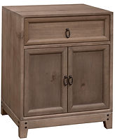 Glendale Nightstand with 1 Drawer and 2 Doors | One drawer and two doors. Inset drawer and door design with recessed panel.  | Rustic Quartersawn White Oak in Barnwood SP-10 | 23in W x 19in D x 29in H | The Amish Home | Amish Furniture at the Pittsburgh Mills