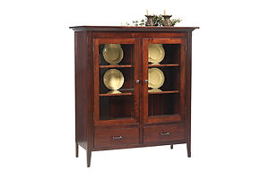 Newport Shaker China Pantry|Rustic Cherry in Michaels OCS113|51in W x 21in D x 54in H|The Amish Home|Amish Furniture at the Pittsburgh Mills
