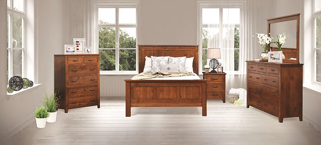 "Bloomfield Express Bedroom Furniture Collection|Express Quick Ship Casual bedroom suite with straight, unadorned lines, inset drawers, and slightly tapered post feet. Queen panel bed has three panels between square posts on headboard and footboard. Nightstand has three inset drawers. Tall dresser had six wide drawers with three small drawers on top, and optional mirror. Chest has four wide drawers and two narrow drawers. Features 1"" solid tops, hardwood drawer boxes, dovetail drawers, and full-extension drawer glides (soft-close drawer upgrade available)