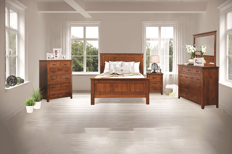 "Bloomfield Bedroom Furniture Collection|Casual bedroom suite with straight, unadorned lines, inset drawers, and slightly tapered post feet. Queen panel bed has three panels between square posts on headboard and footboard. Nightstand has three inset drawers. Tall dresser had six wide drawers with three small drawers on top, and optional mirror. Chest has four wide drawers and two narrow drawers. Features 1"" solid tops, hardwood drawer boxes, dovetail drawers, and full-extension drawer glides (soft-close drawer upgrade available)
