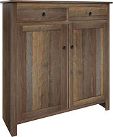 Mason Pie Safe with two doors and two drawers | with two adjustable shelves | Rustic Quartersawn White Oak in Cappuccino OCS119 | 48in W x 16in D x 51in H | The Amish Home | Amish Furniture at the Pittsburgh Mills