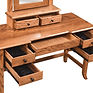 Bunker Hill Dressing Table shown open | Oak in Fruitwood OCS102 | 50in W x 20in D x 30 1/2in H | The Amish Home | Amish Furniture at the Pittsburgh Mills