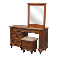 Plymouth Jewelry Dressing Table | 6 drawers, 1 with ring bar, 2 with wooden dividers, 3 with wood bottom. 2 Pull-out wings with 7 jewelry hooks each and earring screen. Full extension drawer slides. Optional hidden drawer available. | Rustic Cherry in Asbury OCS117 | 50in W x 19in D x 31in H | The Amish Home | Amish Furniture at the Pittsburgh Mills