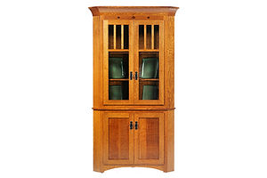 New Classic Mission Corner Hutch|Quartersawn White Oak in Michaels OCS113|34in W x 30in D x 79in H|The Amish Home|Amish Furniture at the Pittsburgh Mills Amish Dining Solutions