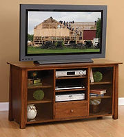 Stratford TV Stand|Rustic Cherry in Asbury OCS117|56in W x 20in D x 30in H|The Amish Home|Hardwood Furniture at the Pittsburgh Mills