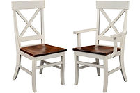 Single X Dining Chair|Brown Maple in White Paint and Coffee OCS226 | Shown with Wood Seat.|The Amish Home|Amish Furniture at the Pittsburgh Mills