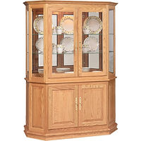 Angled Double Door Picture Frame Curio with Enclosed Base | 2 adjustable shelves with plate groove, 1 adjustable wood shelf, mirror back, clear glass, LED touch light, brass plate with lock | Oak in S-2 OCS101 | 53in W x 21in D x 72in H | The Amish Home | Amish Furniture at the Pittsburgh Mills