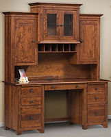Cherry Valley Double Pedestal Credenza Desk with optional hutch | Rustic Cherry in Michaels OCS113 | 72in W x 25in D x 30in H | The Amish Home | Amish Furniture at the Pittsburgh Mills